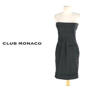 CLUB MONACO 100% Wool Strapless Plaid Black Dress
